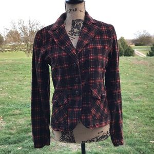 Delias Brown Plaid Corduroy Jacket Medium Buttons
